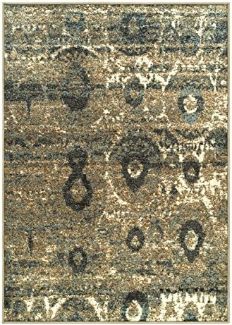 Superior 6mm Pile Height with Jute Backing, Durable, Fashionable and Easy Maintenance, Rosemont Collection Area Rug, 5 x 8 – Blue