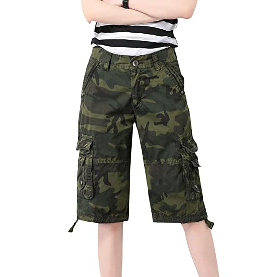 3d3434eb1764 Image Unavailable. Image not available for. Colour: YouPuer Women's Cargo  Shorts Cotton Casual Multi Pockets Camouflage Knee Length Bermuda ...