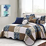 Home Soft Things Serenta Patchwork Quilted 8 Piece Bed Spread Coverlet Set, Dark Blue, Queen (106'' x 106'')
