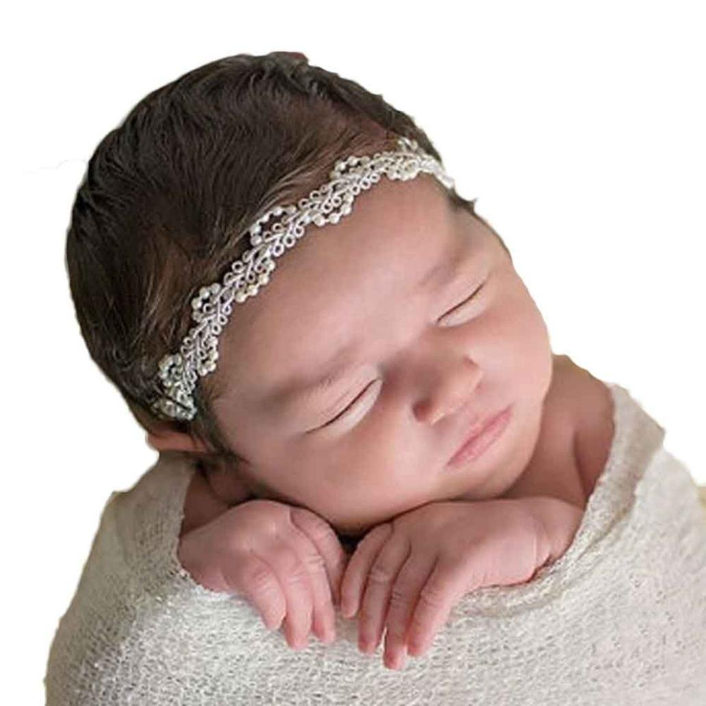 Christening Hairbands Infant Baby Girls Pearl Hair Clip Hair Hairpin Band Baby Head Wrap Band Accessories Photo Photography Prop White)