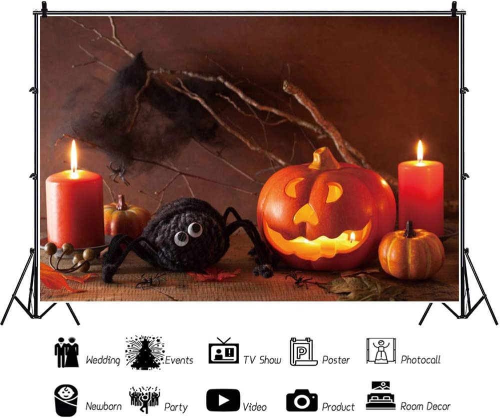 Leowefowa Halloween Photo Booth Backdrop 5x3ft Vinyl Dry Branches Grimace Pumpkin Lamp Candles Maple Leaves Black Woolen Spider Photography Background Trick Or Treat Party Banner Child Adult Shoot
