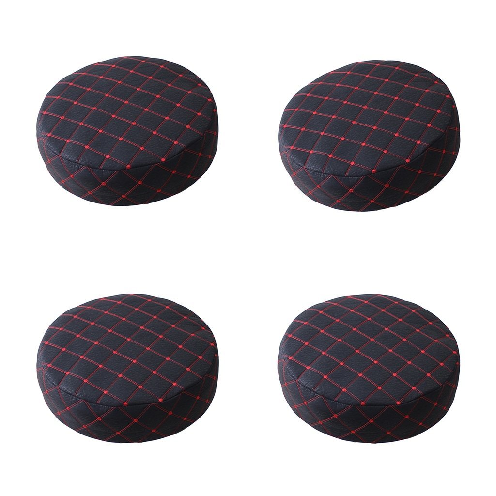 Fityle 4 Pieces Black Bar Stool PU Cover Round Chair Seat Cover Sleeve 15-16 inch/40cm
