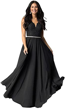 2357c033b8f Women s V Neck Lace Bodice Chiffon Evening Dresses Long Formal Prom Party  Gowns (Black