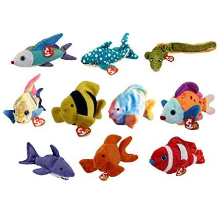 Amazon.com  TY Beanie Babies - SET OF 10 FISH   SEALIFE (Coral ... 013d6e2e266f