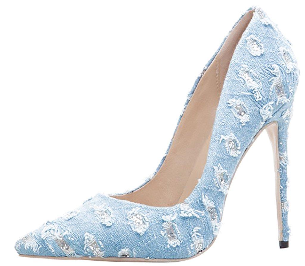 Arraysa Mujer Aaaak Tacón De Aguja 12CM Canvas Ponerse Zapatos de tacón 41.5 EU|Azul B