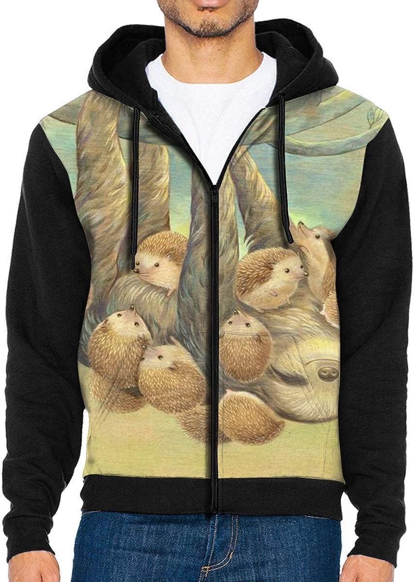 HEHE TAN Mens Pullover Hood Cute Sloth Zip Hoodies Hooded Popular Jackets Coats