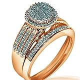.4cttw Bridal Wedding Ring Set 2pc Engagement + Band 10k Yellow Gold Round Halo Top