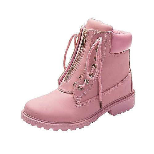 Luoluoluo Botas Mujer Futbol Agua Bota Moto Zapatos Militares Movimiento Invierno Mantener Cordones Sólidos con Cremallera