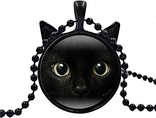 Tinksky Gato Negro Animal Tema Vidrio Cabochon Collar Pendientes ...