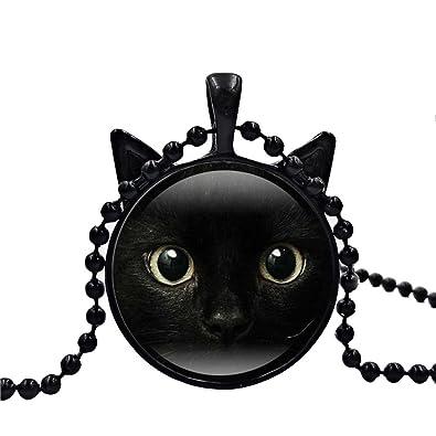Tinksky Gato Negro Animal Tema Vidrio Cabochon Collar Pendientes Pulsera Joyas para Mujer Regalos Hombre Regalo de Navidad de cumpleaños para los ...
