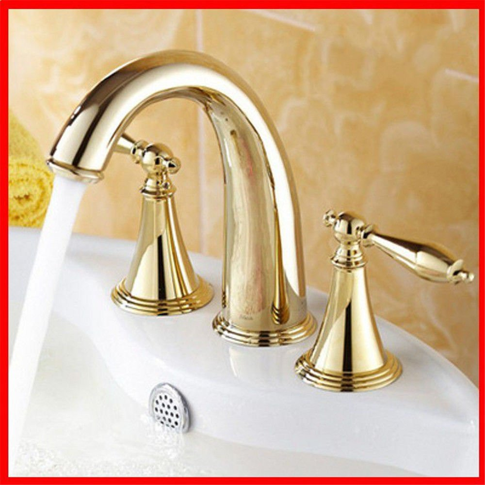 A Hlluya Professional Sink Mixer Tap Kitchen Faucet Three 8-inch basin faucet full copper split leading gold taps, B