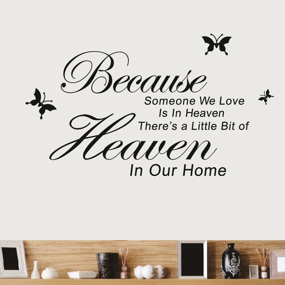 Because Someone We Love Is In Heaven There s Vinyl Wall Quotes sayings Sticker Decals Room Decor Amazon Kitchen & Home