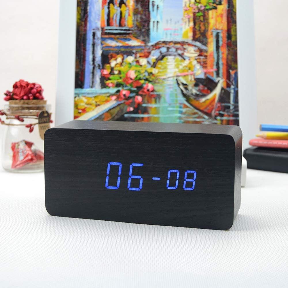 Weehey LED /électronique Num/érique R/éveil en Bois Heure//Temp/érature//Affichage de la Date Horloge de Bureau 3 Niveaux de luminosit/é Commande vocale Charge USB ou Alimentation par Batterie Noir