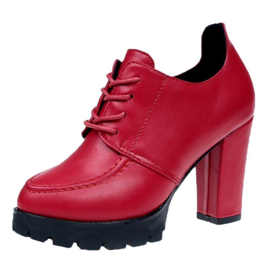 DENER Women Ladies Girls Ankle Boots with Heels,Lace up Cowboy Hiking Waterproof Platform Wide Width Comfortable Booties Shoes (Red, 38)