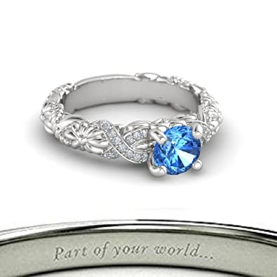 487db844dd8 Beautiful Free Engraving Knotted Bouquet Engagement Wedding Ring-925  Sterling Silver Plated Alloy Created Round 1.25cttw Blue Topaz Solitaire  Look Ring For ...