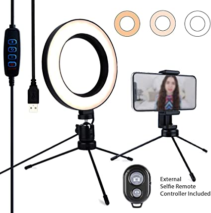 UBeesize 10 Selfie Ring Light with 50 Extendable Tripod Stand /& Flexible Phone Holder for Live Stream//Makeup Mini Desktop Led Camera Ringlight for YouTube Video Compatible with iPhone//Android