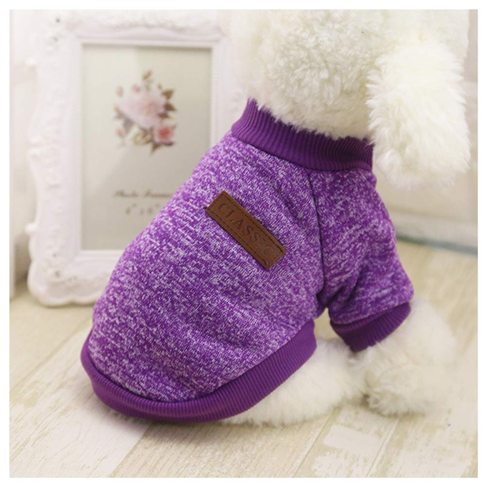 Dog Clothes For Small Dogs Soft Pet Dog Sweater Clothing For Dog Summer Chihuahua Clothes Classic Pet Outfit Ropa Perro 20-22S1 Purple XL