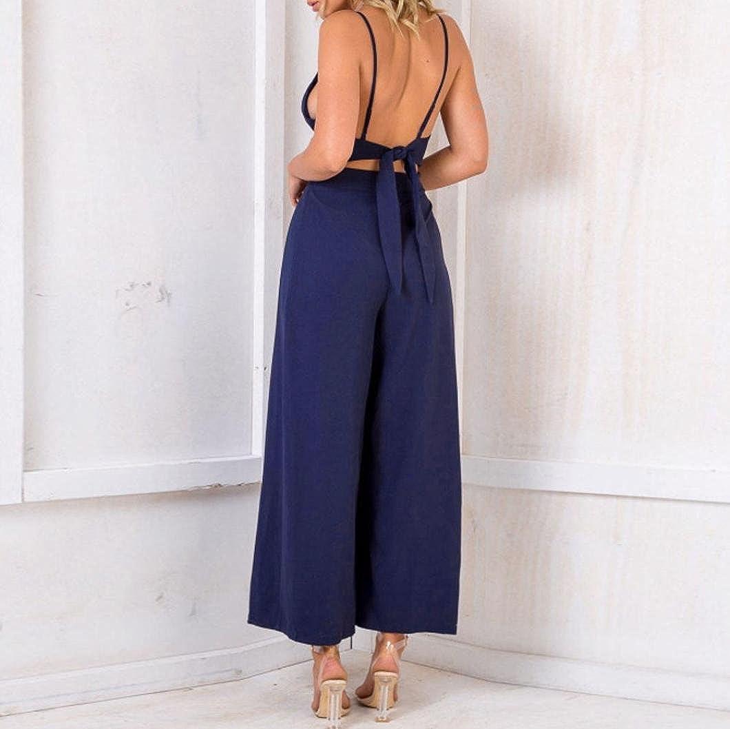 c1a2e3ec38afcf ❤️YunYoud❤ Mode Damen Overalls Frau Beiläufig V-Ausschnitt Ärmellos  Playsuit Rückenfrei Bowknot Clubkleidung ...