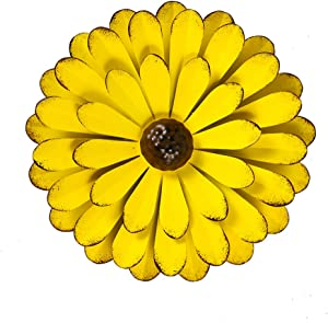 "Large Yellow Metal Flower Wall Decor, 13"" Flower Art Wall Hanging for Home Bedroom Garden Indoor Outdoor"