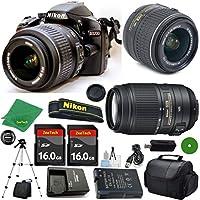 D3200 24.2 MP CMOS Digital SLR, NIKKOR 18-55mm f/3.5-5.6 Auto Focus-S DX VR, AF-S DX NIKKOR 55-300mm f/4.5-5.6G ED VR, 2pcs 16GB BaseDeals Memory, Camera Case