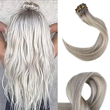 Thick blonde streaks mine the
