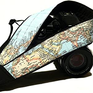 World Map Camera Strap. Gift For Photographer. DSLR, SLR, Mirrorless Camera Strap. Camera Accessories; 032