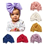 Baby Girl Hat with Rabbit Ears Bow Hat Toddlers Soft Variety Knotted Hats Cap … (white/pink/yellow/purple/red/blue-6pcs)