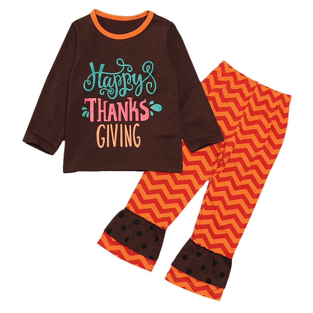 Dinlong Girls Boys Clothes Long Sleeve Letter Thanksgiving Tops Pants Outfit Set Din_95