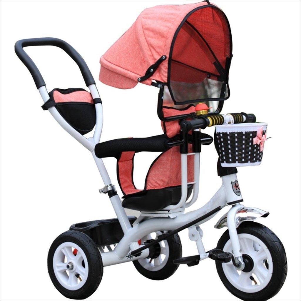三輪車のベビーキャリッジバイク子供のおもちゃのトロリーインフレータブルホイール自転車3ホイール、回転可能な座席(ボーイ/ガール、1-3-5歳) (色 : ピンク ぴんく, サイズ さいず : B) B07DVJ7416 B|ピンク ぴんく ピンク ぴんく B