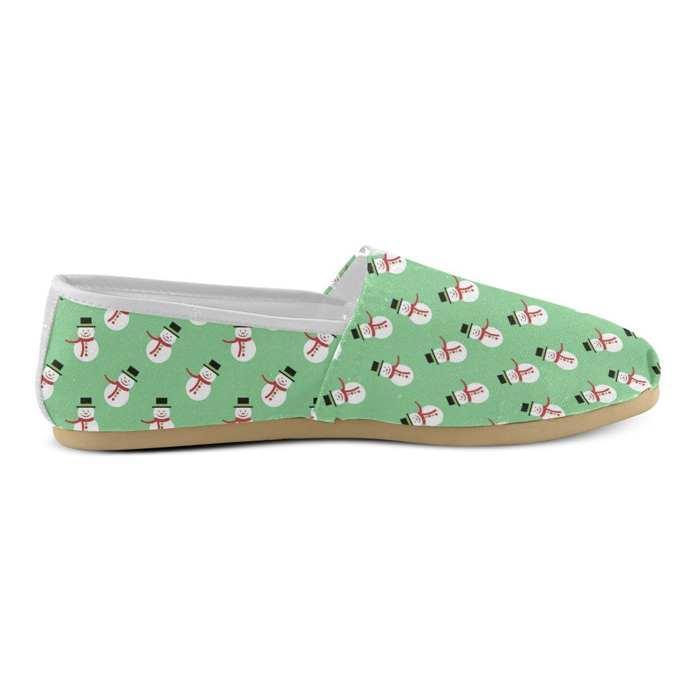 Unisex Shoes Snowman Pattern Christmas Casual Canvas Loafers for Bia Kids Girl Or Men
