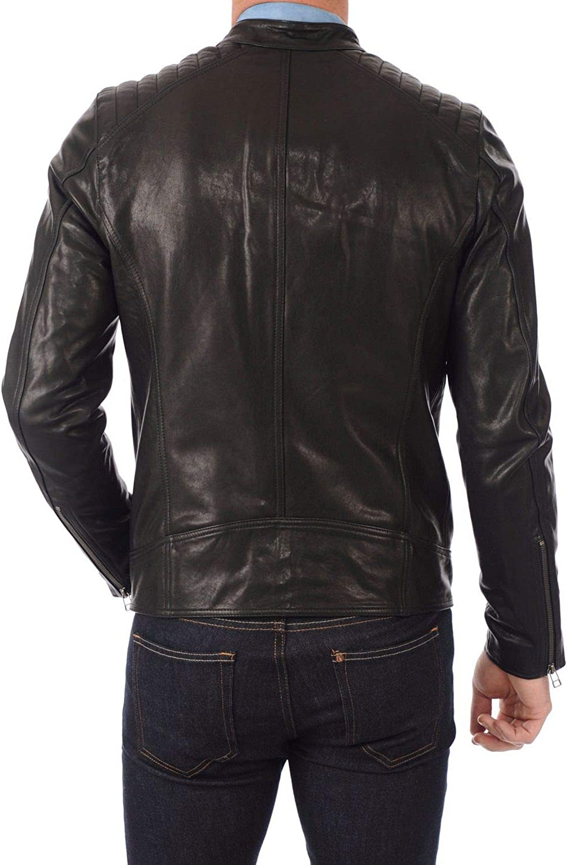 Mens Stylish Motorcycle Biker Genuine Lambskin Leather Jacket 392