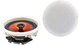 """Herdio 6.5"""" Flush Mount in-Ceiling/Wall Speakers 2-Way Home Speaker System 300 Watts Perfect for Humid Indoor Outdoor, Kitchen,Bedroom,Bathroom,Covered Porches A Pair"""