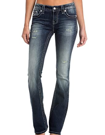 fa0ae4bbd91 Amazon.com  Miss Me Women s Dreamcatcher Mid-Rise Stretch Boot Cut Jeans   Clothing