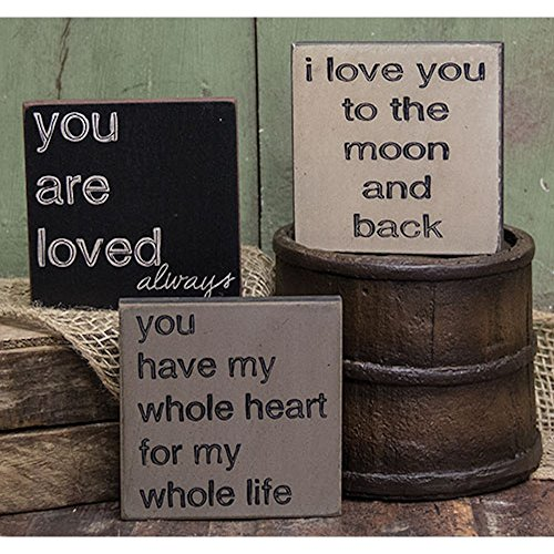 Love You To The Moon Trio - Square Desk Sign Set of 3 (I Love You To The Moon and Back, You Have My Whole Heart For My Whole Life, You Are Loved (Rustic Country Candle Wrap)
