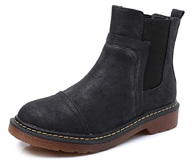 Women's Shoes Leather ZipperElastic Band Low Heel Ankle Boots