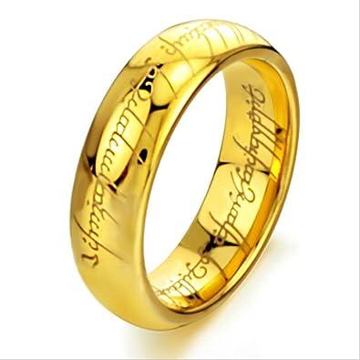 Gold Plated 18k Elvish Script Tungsten Carbide Unisex Laser Etched Wedding Ring Band 7mm