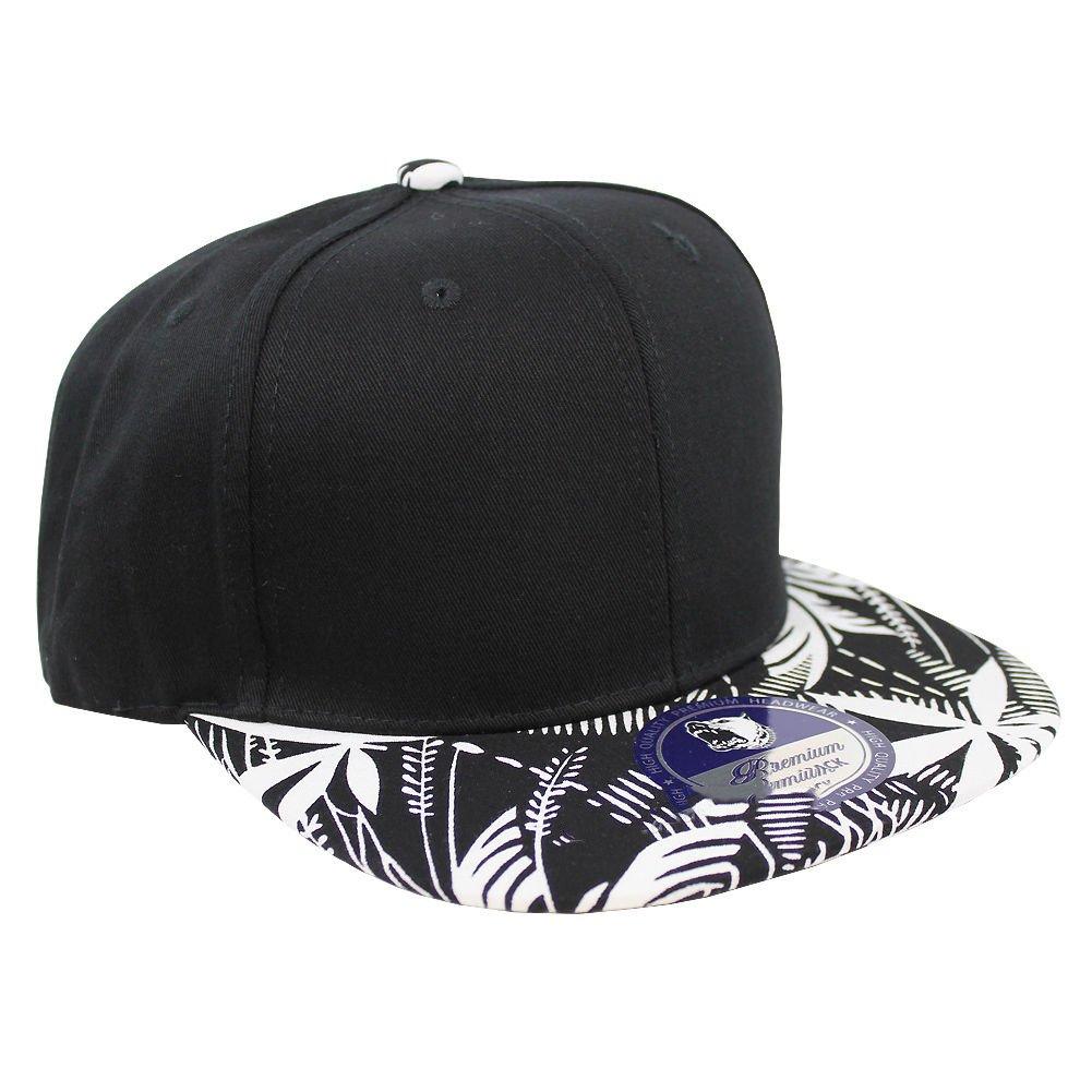 Tropical Hawaiian Palm Print Cap Snapback Flat Bill Adjustable (Black Palm  Print Black) at Amazon Men s Clothing store  a9f640f2237
