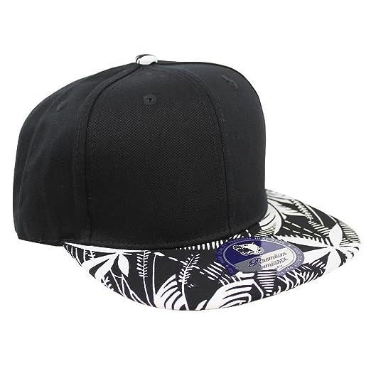 Tropical Hawaiian Palm Print Cap Snapback Flat Bill Adjustable (Black Palm  Print Black) b14512a08b48