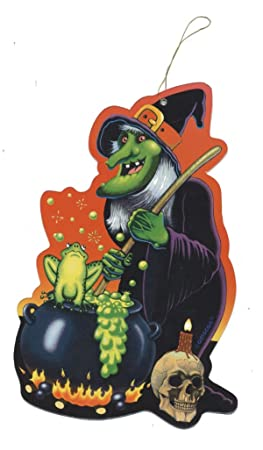 1 Découpe à Suspendre Sorcière Avec Son Chaudron Crapaud Halloween