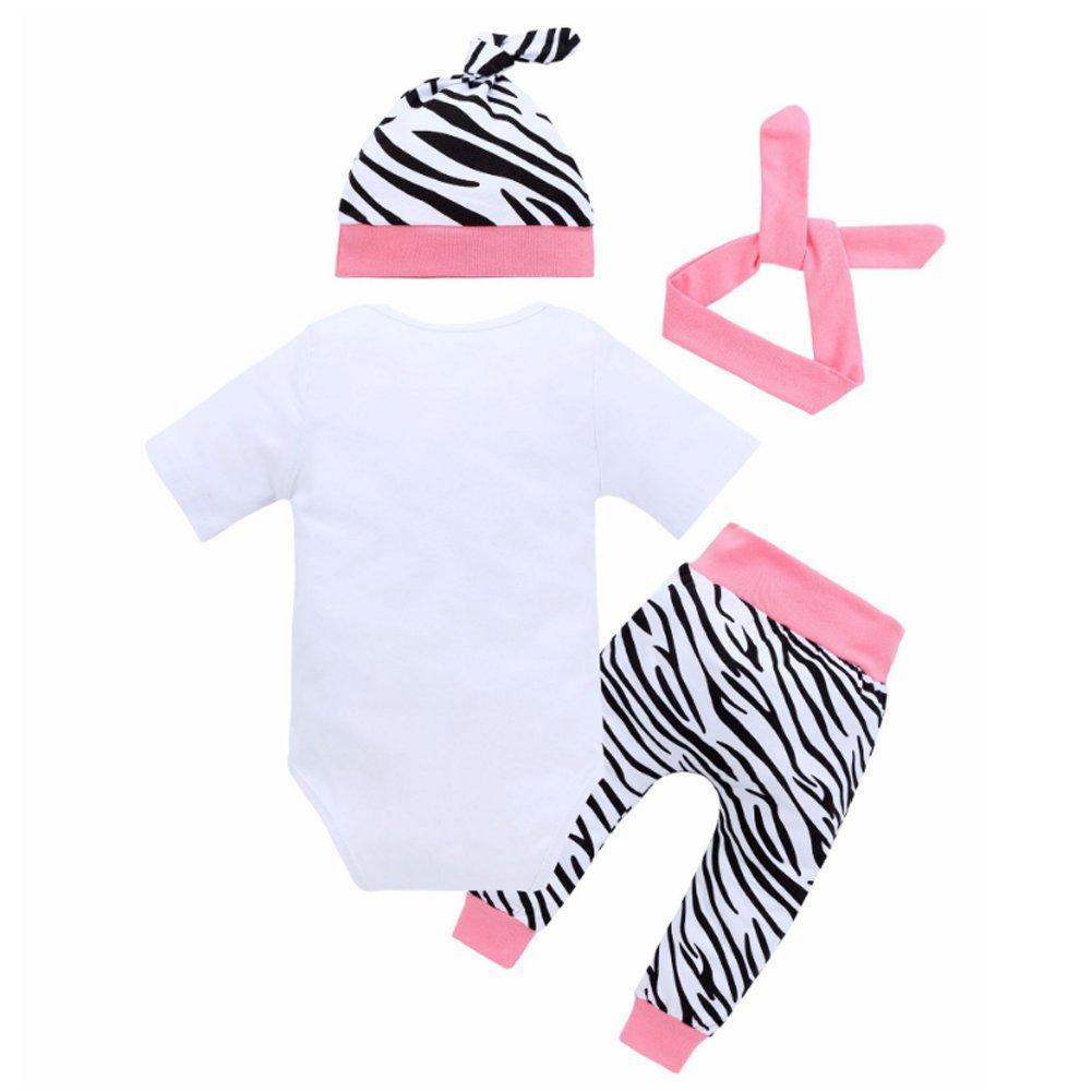 Neonate vestiti lettere bianche manica corta Suit Top Zebra Pantaloni Cappello archetto sorreggono