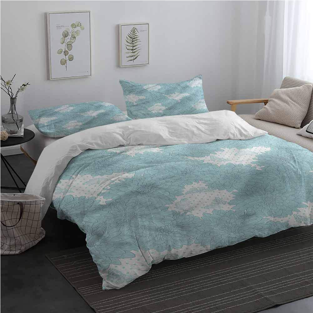 AndyTours Dahlia Flower 3 Pieces Duvet Cover Set Butterfly Polka Dots Bedding Set for Men, Women, Boys and Girls California King