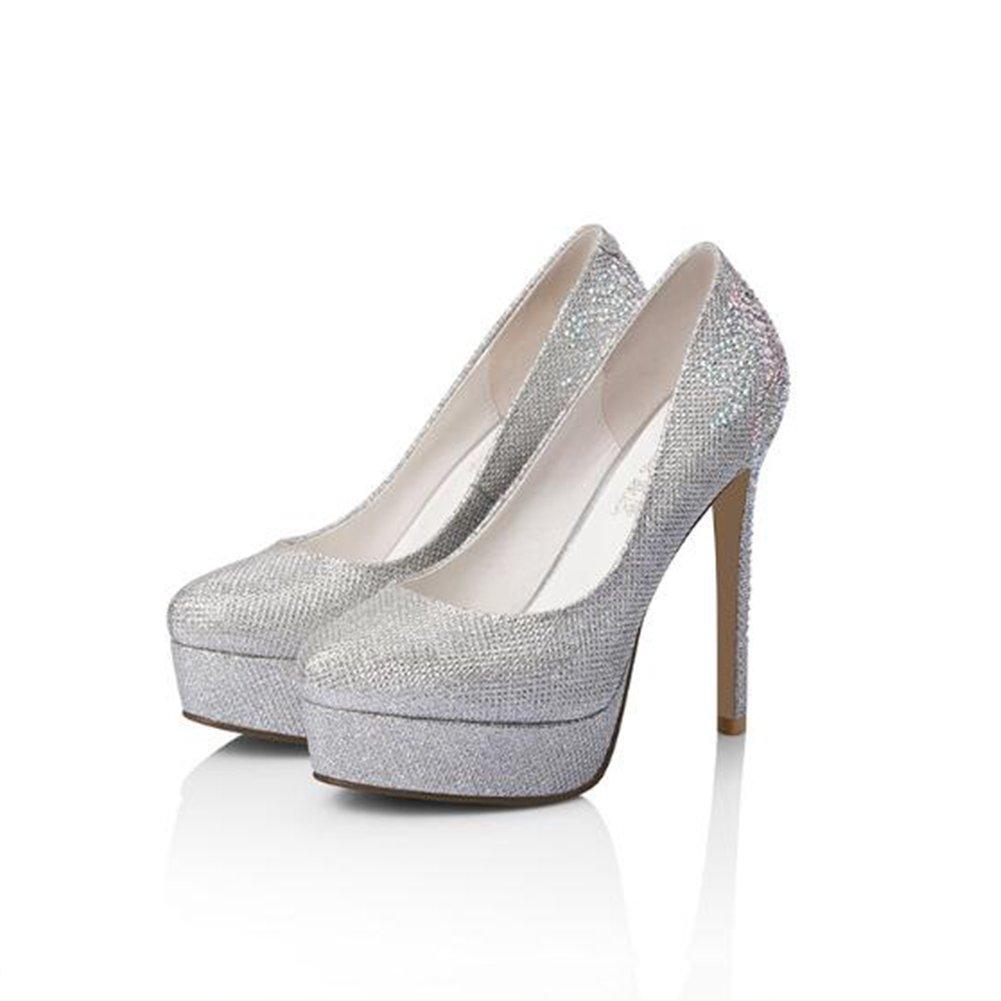 CJC Zapatos de Plataforma Impermeable de Oro Zapatos Altos Solos Zapatos de  Tacones de Aguja de Diamantes de Imitación Femenina (Color   La Plata d90ed3127aa4