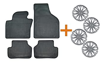 Set de alfombrillas de goma + Tapacubos Spark Plata 15 para Peugeot