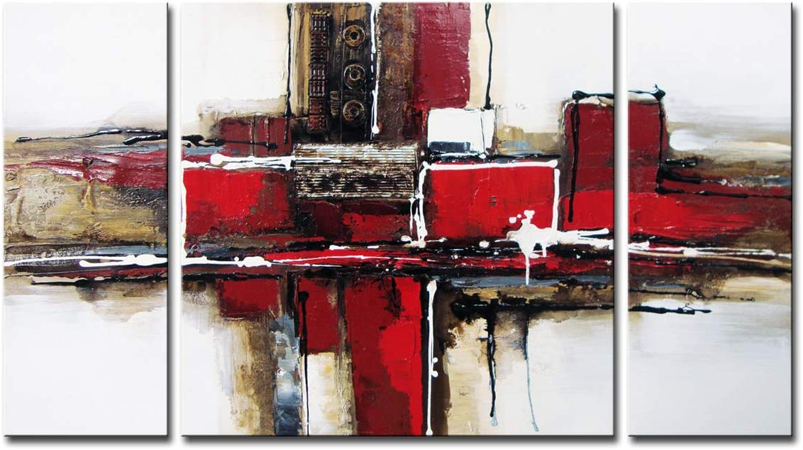 Noah Art-3 Panel Abstract Wall Art, Red and Black 100 Hand Painted Modern Abstract Oil Paintings on Canvas, Large Abstract Art for Living Room Wall Decor, 24 Inches Height x 48 Inches Width
