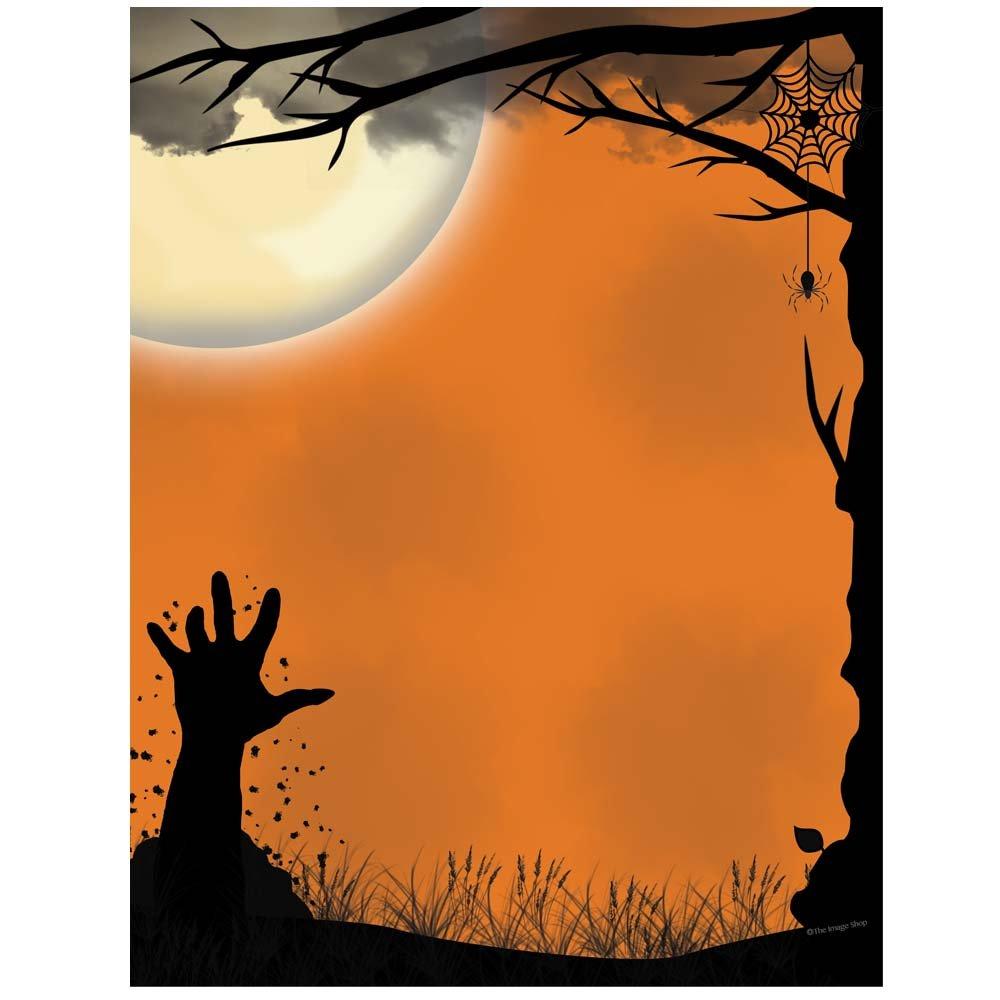 Image Shop Awakening Halloween Letterhead Laser & Inkjet Printer Paper, 100 pack,Orange, Black