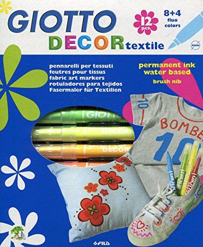 Giotto 4949 00 - Decor Textile - Stoffmalstifte - Aufhängbares Etui mit 12 sortierten Farben