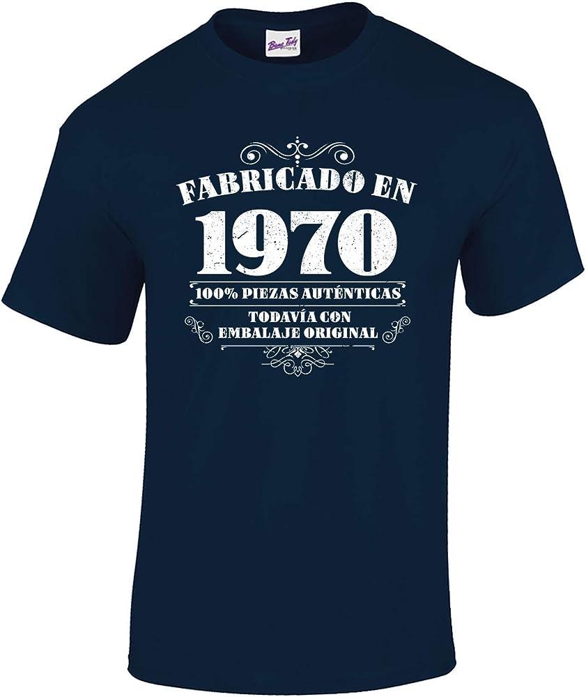 Bang Tidy Clothing Camiseta de Hombre para Regalo de 50 cumpleaños Manufactured 1970 en Azul Marino Talla S: Amazon.es: Ropa y accesorios