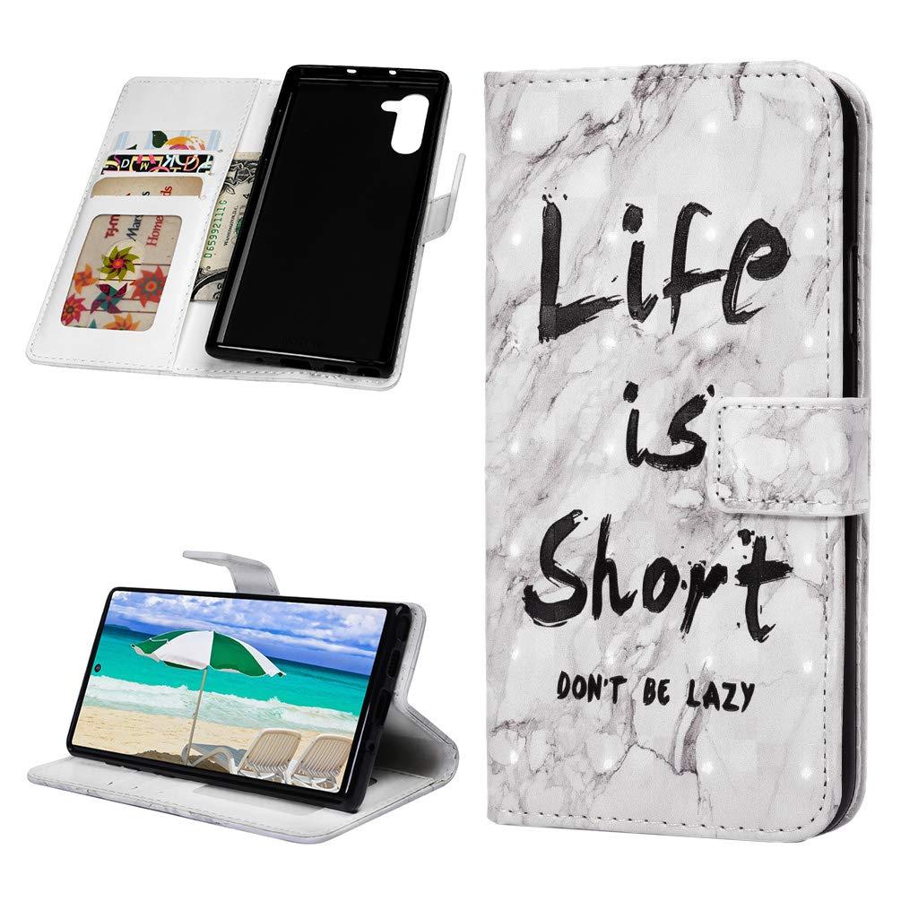 MOTIKO Coque Compatible avec Samsung Galaxy Note 10 /Étui Housse Cuir et Silicone Gel Antichoc Coque de Protection Bumper Portefeuille /Étui /à Rabat Flip Clapet Fermeture Magn/étique Cover