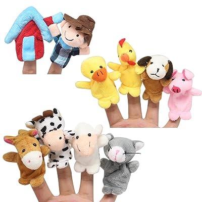 Homgaty Lot de 10animaux marionnettes pour doigt Pour raconter des histoires, pour conte de fées, garderie