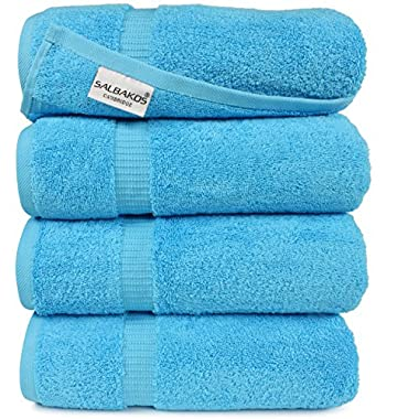 Turkish Luxury Hotel & Spa 27 x54  Bath Towel Set of 4 - 100% Genuine Cotton from Turkey - 700gsm Eco-Friendly (Bath Towels, Aqua)